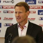 New Stevenage manager Teddy Sheringham answers questions from the media at the press conference