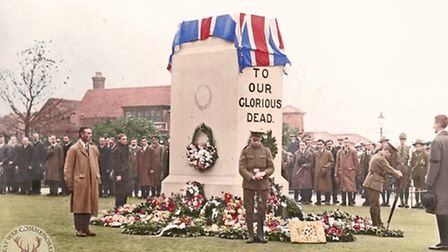 A service being held on Armistice Day in 1919 or 1920 at the first war memorial in Letchworth. Cred