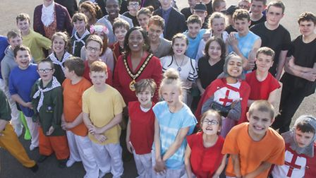 The performers with Stevenage mayor Sherma Batson