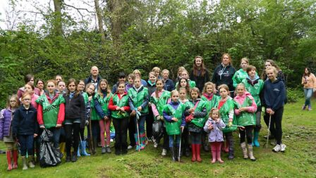 Young and old volunteers at The Dell for the Big Hitchin Spring Clean.