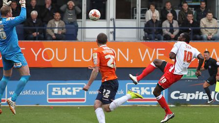 Calvin Zola lifts the ball over the goalkeeper only for it to be cleared off the line