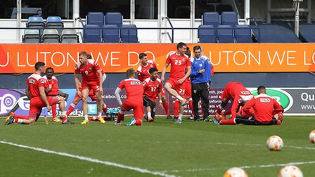 Stevenage warm up before the match with Luton Town