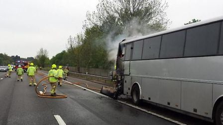 Lanes of the A1(M) heading southbound were shut while the fire was put out, but have now reopened. P