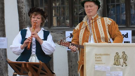 Medieval music outside the museum. Picture: Clive Porter.