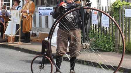 John Malseed with his penny farthing bike outside the museum.Picture: Clive Porter.