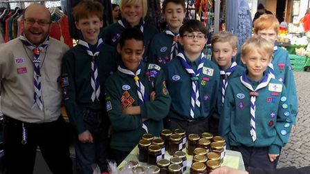 12th Hitchin Scouts, based in Church House, raising funds for an international trip to Lake Placid i