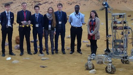 The John Henry Newman School team at an Airbus facility.