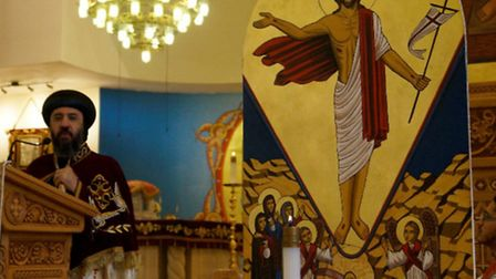 Bishop Angaelos at the Coptic Cathedral of St George in Stevenage