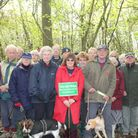 Margaret Shaw (central) with campaigners to save Alsa wood from development.
