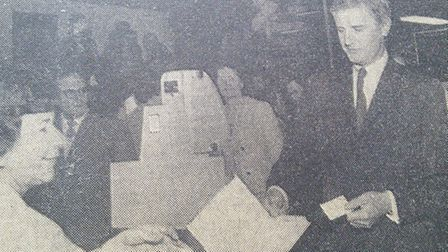 Hitchin Library opens in May 1965, newsreader Kenneth Allsop takes out the first book issued by libr