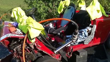 Firefighters had to cut free a young man after a crash on Debden Road, Saffron Walden.