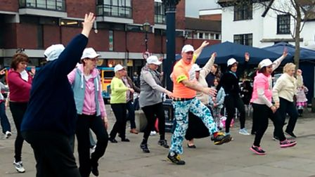 Impromptu dance mob event in Market Place, Hitchin, over Easter weekend to launch the Hospice of St