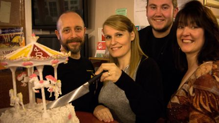 Lytton Players Carousel, celebration cake. left to right Ross Edwards (Enoch Snow), Sharon Curtis (