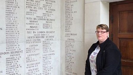 Walter Flanders' great geat niece Linda Jack pays her respects at Menin Gate.