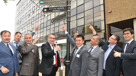 A delegation of Kazakhstan officials visiting from Shymkent which is twinned with Stevenage are visi