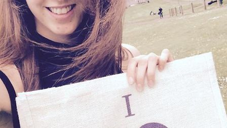 Alexa Taylor at the top of Windmill Hill with her I Love Hitchin Bag during her no make-up challenge