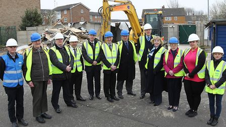 Dignitaries from North Herts district council gather to mark the start of the first phase of develop
