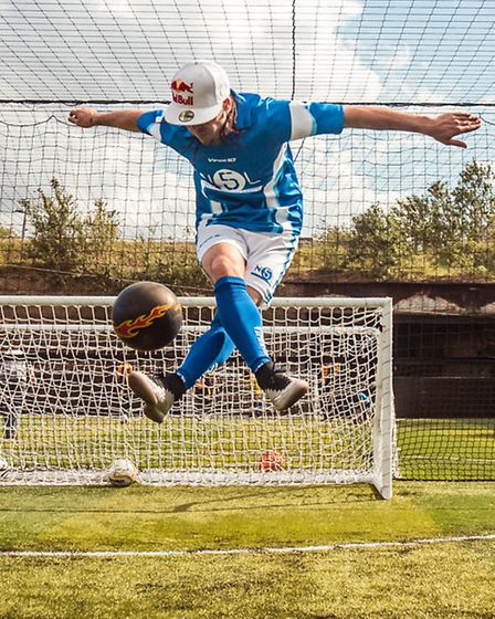 French football freestyle San Garnier at the promotional event.
