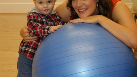 The Pilates Pod director Michelle Smith with her son Dylan.