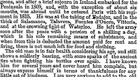 The letter about Trooper George Arnold which appeared in The Times in 1868.