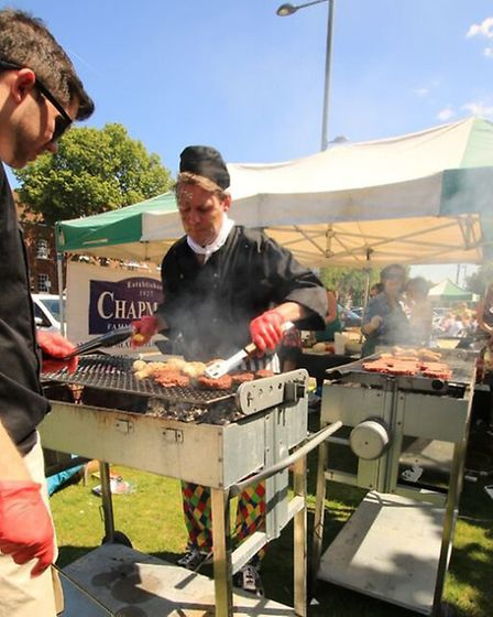Chapmans Butchers serving up at the Baldock Big Lunch 2015. Picture: Stephen Drayton Photography.