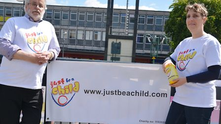 Just Be A Child founder Lenka McAlinden, pictured with trustee Alex Lang, needs to raise up to £5,00