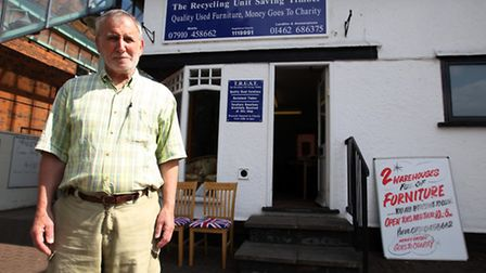Leonard Abrahams outside the front of his shop in Letchworth