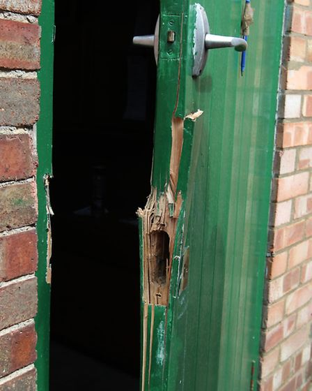 The door which was damaged from the break in