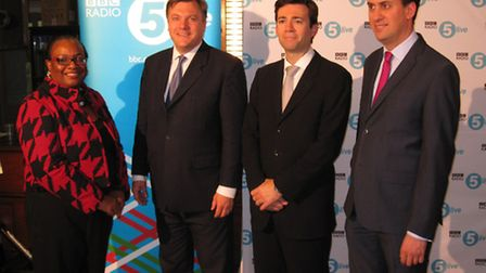 Andy Burnham, second from right, is returning to Stevenage five years after a previous Labour leader