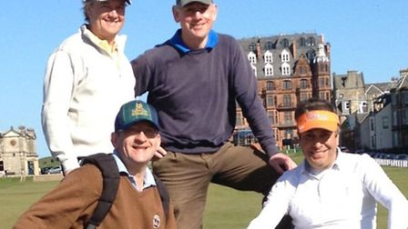 Putting their backs into it: the four golfers pictured at golfs St Andrews headquarters but theyll
