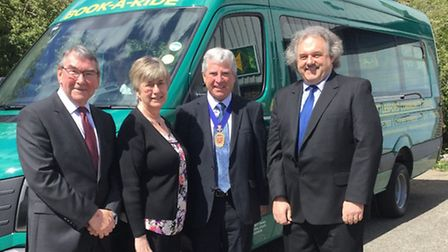 Cllr Hume (second from right) is pictured with UCT chairman Ian Shaw, trustee Mrs P Churchill and ge