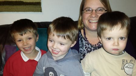 Keeley Sparrow, pictured with children Thomas, Oliver and William, is dismayed by Home-Start funding