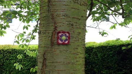 Yarn bomb event in St Mary's Church, Hitchin, June 2015