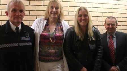 Chief Insp Richard Harbon, journalists Jane Fae and Siobhan Mead and Councillor Richard Henry at Ste