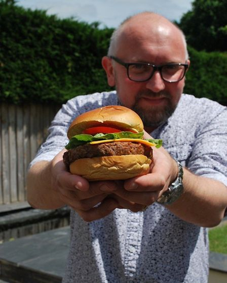 Andrew Webb with the perfect burger.