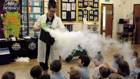 Pupils get doused in dry ice