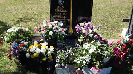 The grave of Jean Perkins, where flowers were stolen.