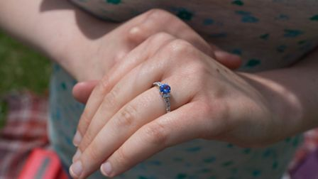 Rachel Pipe showing off her engagement ring.