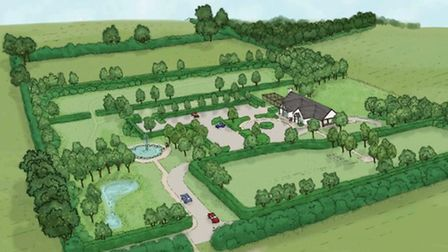 A prospective sketch of what North Hertfordshire Memorial Park would look like.