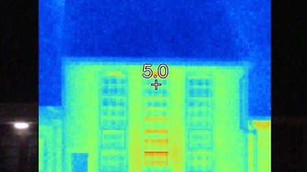 Thermal image of house.