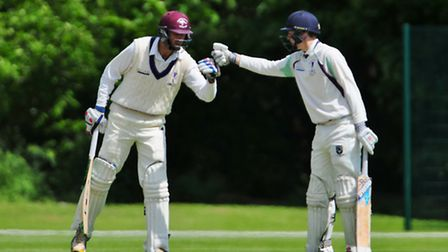 Alistair Russell, right, and Matt Gouldstone meet in the middle. Picture: Jamie Pluck