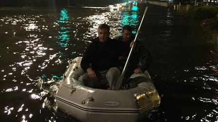 The pair rowed to safety after an eventful night. Credit: Daniel Roberts