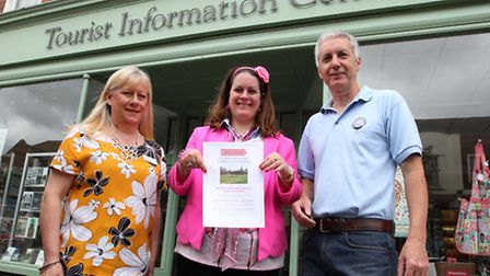 Gemma Sarrington with Keith Sturmey from the Letchworth Festival committee and centre manager Heathe