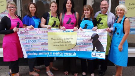 Supporters of the Dr Hawden Trust outside the charity's new shop in Hitchin, which they are aiming t