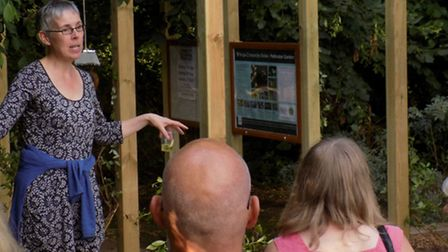 Celebrations to mark 15 years of Triangle Community Garden, Hitchin. Chair of trustees Vicky Wyer