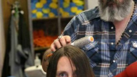 Zoe with Felix during the charity haircut.