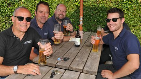 Locals enjoy the atmopshere at the second annual beer and music festival at the Fox pub in Willian