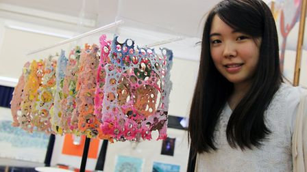 Mako with her art project.
