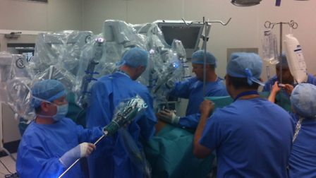Painstaking preparation to get the giant machine and the patient perfectly lined up