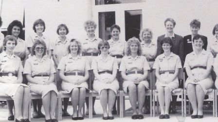 The original staff at Garden House Hospice in 1990. Back row second from left is Sally Alford, back